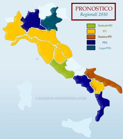 Pronostico per le regionali 2010: PD 9, PDL 4